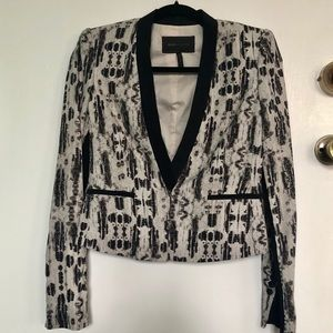 BCBGMaxAzria | Black White Patterned Print Blazer
